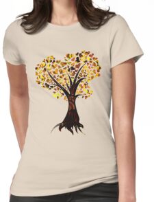 Heart Tree - Fall colours Womens Fitted T-Shirt