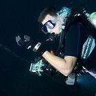 Scuba diver, deco stop. by Emma M Birdsey