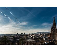 Skyline view over the city of Barcelona Photographic Print