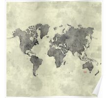 World Map Black Vintage Poster