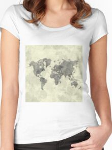 World Map Black Vintage Women's Fitted Scoop T-Shirt