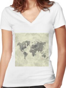 World Map Black Vintage Women's Fitted V-Neck T-Shirt