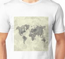 World Map Black Vintage Unisex T-Shirt
