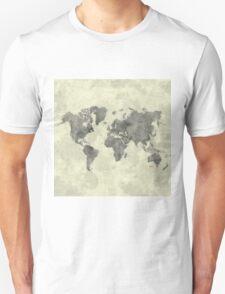World Map Black Vintage T-Shirt