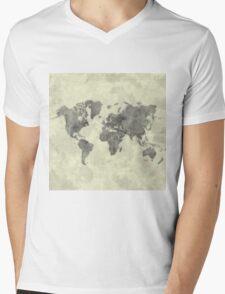 World Map Black Vintage Mens V-Neck T-Shirt