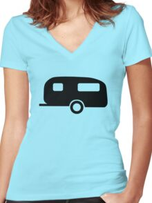 Camping Caravan Women's Fitted V-Neck T-Shirt