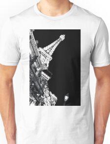 Paris Las Vegas At Night Black and White vertical poster Unisex T-Shirt