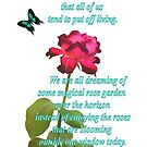 Magenta Red Rose with Butterfly and Quote by ivDAnu