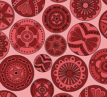 Circular abstract red tint pattern (ipad case) by CClaesonDesign