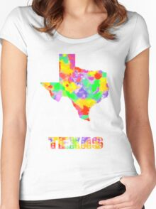 Texas Map Pop art On White Women's Fitted Scoop T-Shirt