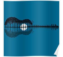 Trees sea and the moon turned guitar Poster