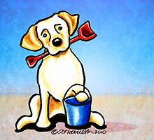 Yellow Lab Puppy Beachside by offleashart