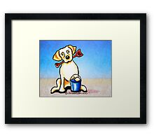 Yellow Lab Puppy Beachside Framed Print