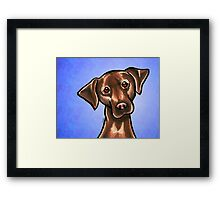 Chocolate Lab Listen Up Blue Framed Print