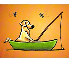 Yellow Lab Gone Fishing Orange Photographic Print