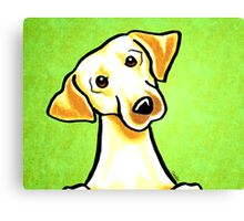 Yellow Lab Listen Up Green Canvas Print