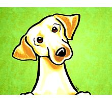 Yellow Lab Listen Up Green Photographic Print