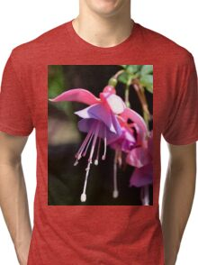 Fuchsia Flower Photo close up showing the pink and purple petals Tri-blend T-Shirt