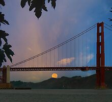 Moon Set Beyond The Golden Gate by David Denny