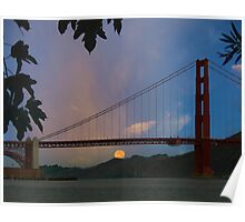 Moon Set Beyond The Golden Gate Poster