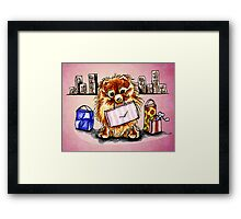 Pomeranian Shopping Day Pink Framed Print
