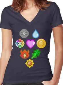 Pokémon! Gym Badges! Women's Fitted V-Neck T-Shirt