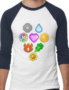 Pokémon! Gym Badges! Men's Baseball ¾ T-Shirt