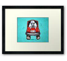 Poodle-Mobile Turquoise Framed Print