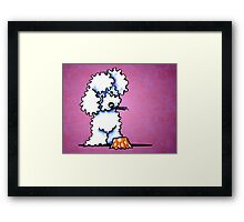White Poodle Cupcake Thief Purple Framed Print