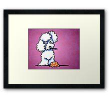 White Poodle Cupcake Thief Purple Framed Print