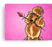Apricot Poodle with Rose Pink Canvas Print