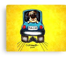 Pug-Mobile Yellow Canvas Print