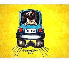Pug-Mobile Yellow Photographic Print