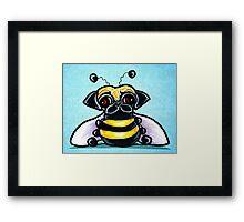 Pug as a Bumble Bee Blue Framed Print