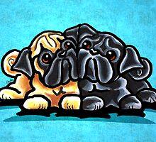 Black and Fawn Pug Hug Blue by offleashart