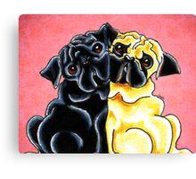 Black and Fawn Pug Hug Red Canvas Print