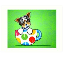 Biewer Yorkie in Polka Dot Mug Green Art Print