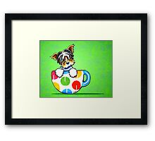 Biewer Yorkie in Polka Dot Mug Green Framed Print