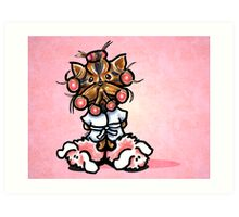 Yorkie in Robe and Bunny Slippers Pink Art Print