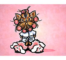 Yorkie in Robe and Bunny Slippers Pink Photographic Print