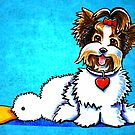 Biewer Yorkie with Duck Toy by offleashart