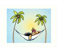 Yorkie in Palm Tree Hammock Art Print