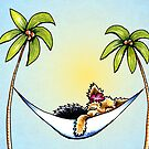 Yorkie in Palm Tree Hammock by offleashart