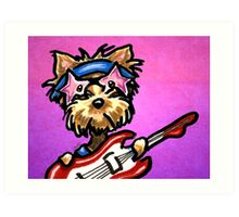 Yorkie with Rockstar Sunglasses and Guitar Purple Art Print