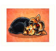 Yorkie Ladybug Bow Sleeping Red Art Print