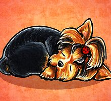 Yorkie Ladybug Bow Sleeping Red by offleashart