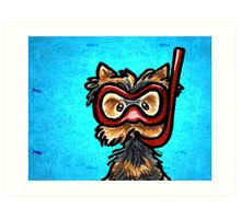 Yorkie in Snorkel Mask with Fishes Art Print