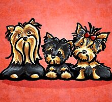 Yorkie Family Red by offleashart