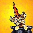 Yorkie in Polka Dot Pointed Hat by offleashart