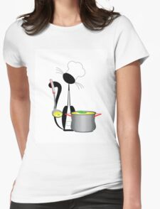 An illustration of a cat the cook with a pan Womens Fitted T-Shirt